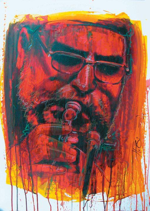Randy Brecker portrait acryl on cardboard