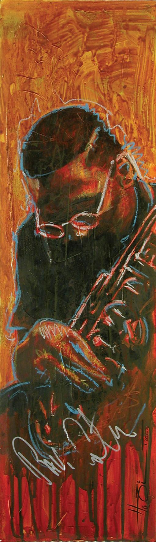 Ravi Coltrane acryl on cardboard