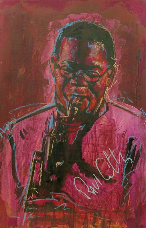 Ravi Coltrane painted playing the sax